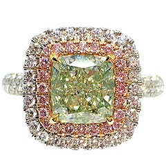 GILIN GIA Certified Fancy Light Yellow-Green 2.12 Carat Diamond Engagement Ring