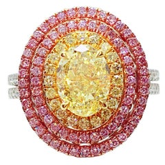 GILIN GIA Certified Fancy Yellow 1.79 Carat Oval Cut Diamond Engagement Ring