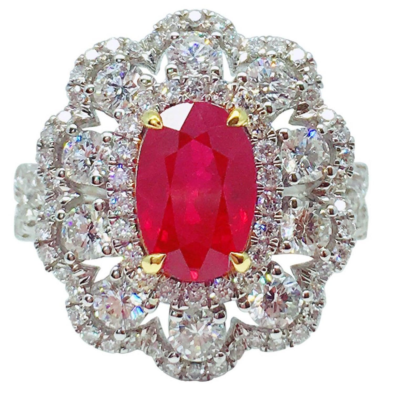 d4a86851bd446 GILIN GRS Certified 2.15 Carat Pigeon's Blood Burmese Ruby Diamond Ring