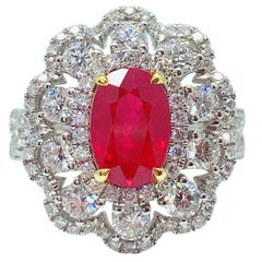 GILIN GRS Certified 2.15 Carat Pigeon's Blood Burmese Ruby Diamond Ring