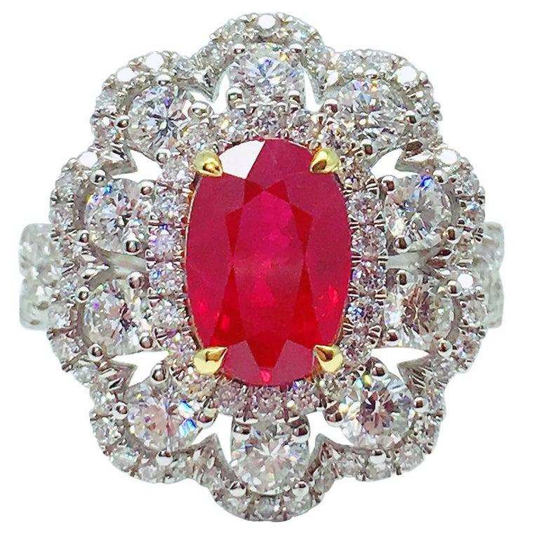 GILIN GRS Certified 2.15 Carat Pigeon's Blood Burmese Ruby Diamond Ring
