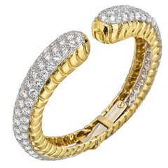 David Webb Diamond Gold Hinged Cuff Bracelet
