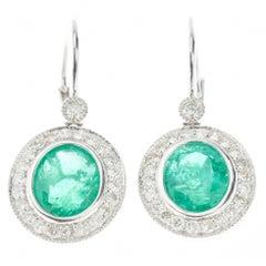 Emerald Diamond Earrings in Platinum 5.70 Carat