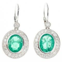 Classic Emerald Diamond Drop Earrings 4.98 Carat in Platinum
