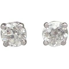1900s Diamond and Platinum Stud Earrings