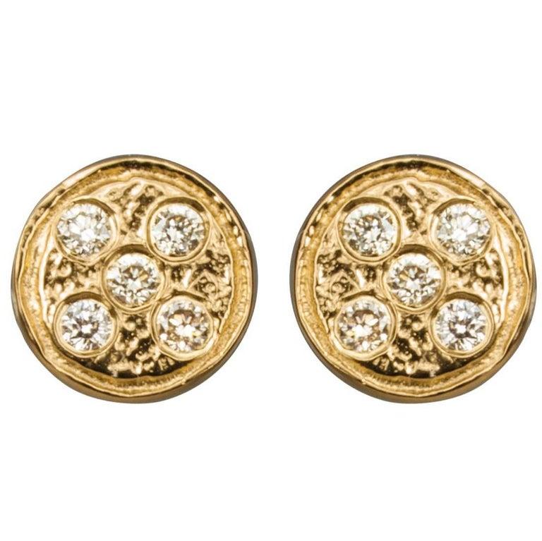 Ltd Edition 'Diamonds on a Flat Planet' Gold Plated Ear studs Earrings.