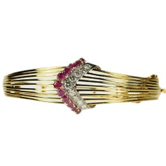 Retro Style Burma Ruby and Diamond Bangle