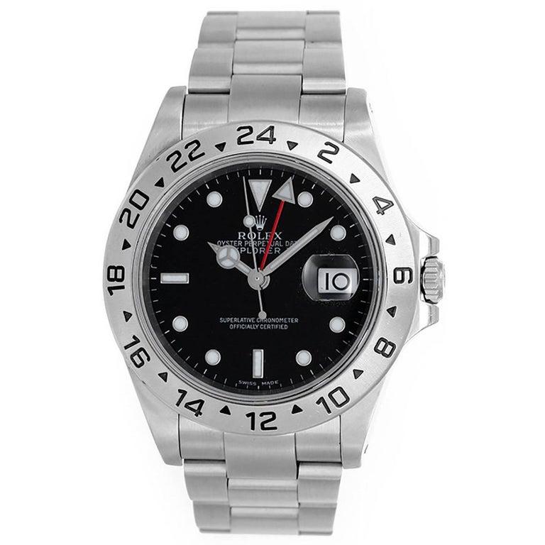 Rolex Stainless Steel Explorer II Black Dial Wristwatch Ref 16570