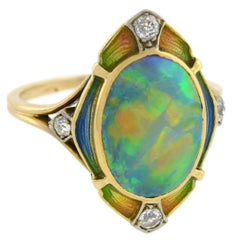 Art Nouveau Black Opal Diamond Enameled Ring