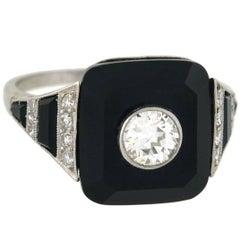 Art Deco 0.30 Carat Centre Diamond Onyx Ring