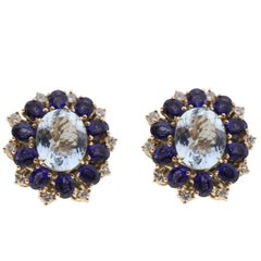 Gold Stud Earrings with Diamonds, Sapphire and Aquamarine