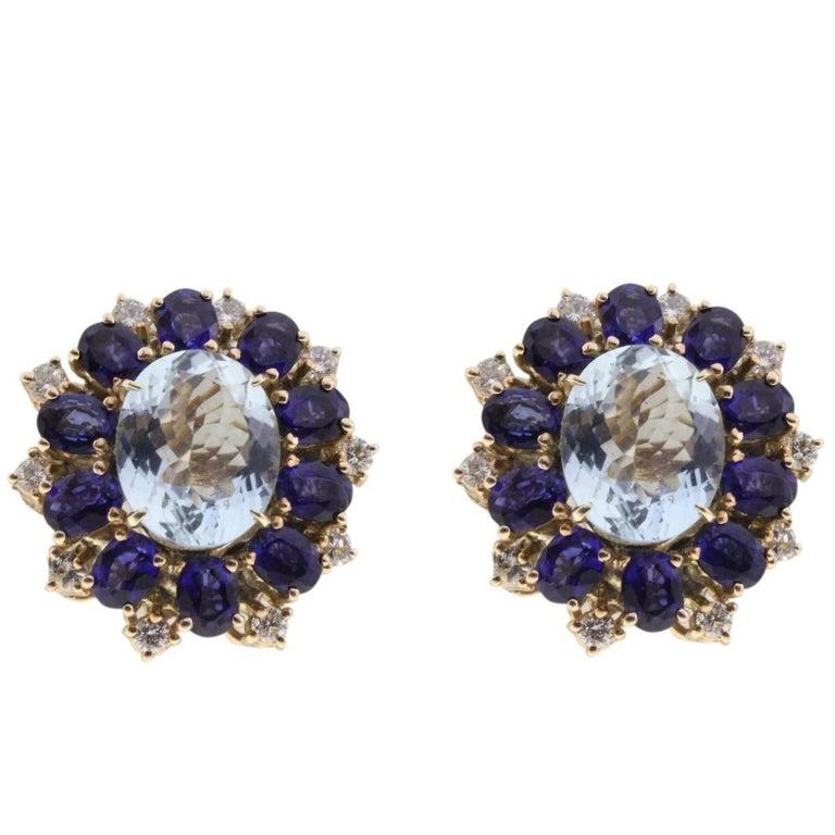 Gold Stud Earrings with Diamonds, Sapphire and Aquamarine