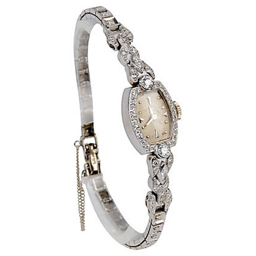 Late Retro Ladies Hamilton Platinum and Diamond Wristwatch, c1950