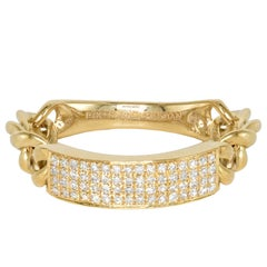 Curved Diamond Bar Flexible Chain Handmade Gold Ring