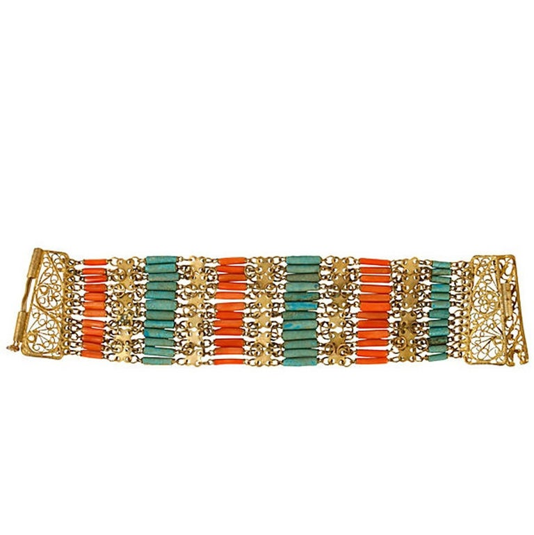 Vermeil Cuff with Coral and Turquoise