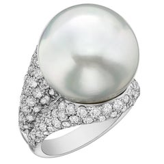 Impressive South Sea Pearl and Pave Diamond Cocktail Ring