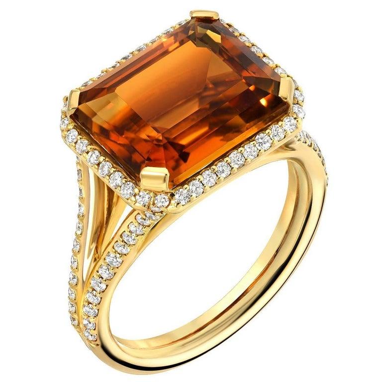 5.82 Carat Madeira Citrine Diamond Gold Ring