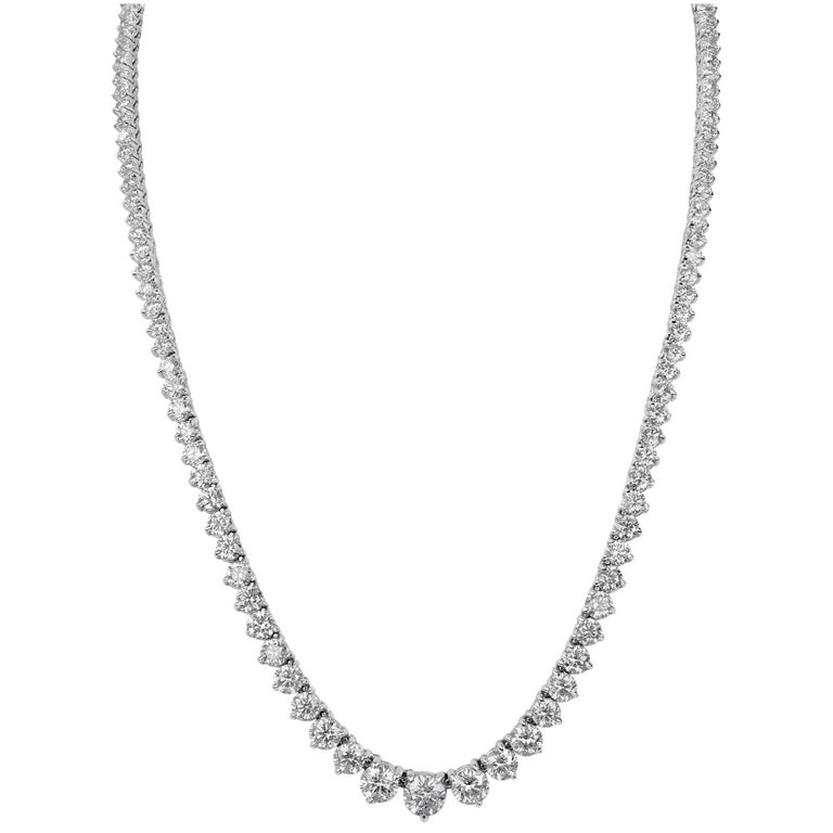 GIA Certified Graduated Diamond Riviera Necklace 11 Carats total weight