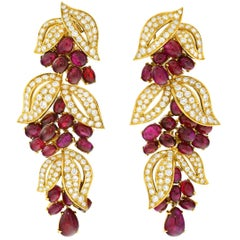 Spectacular Adler No Heat Ruby and Diamond Set Gold Earrings