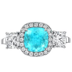 GIA Certified 1.82 Carat Brazil Paraiba Tourmaline Diamond Platinum Ring