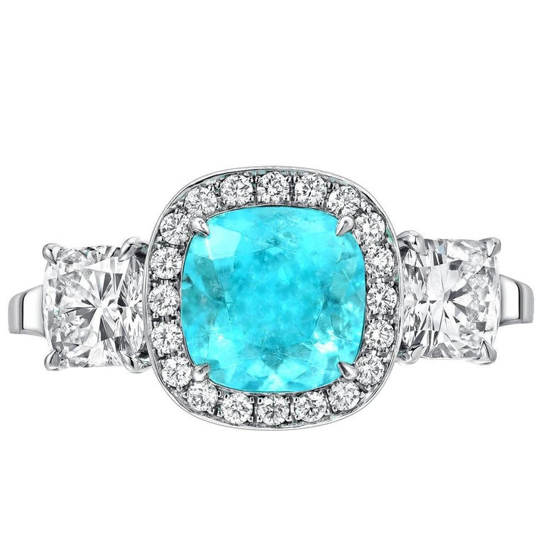 rings halo tourmaline cut cocktail engagement diamond cushion ring green