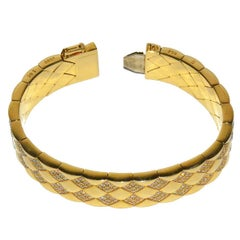 Rare Chanel Gold and Diamond Matelasse Flexible Bracelet