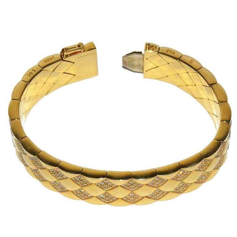 Rare Chanel Gold and Diamond Matelasse Flexible Bracelet For Sale