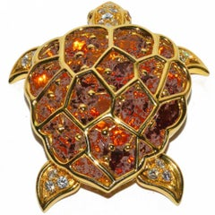 Large Chanel Citrine  Diamond Gold Moveable Turtle Brooch