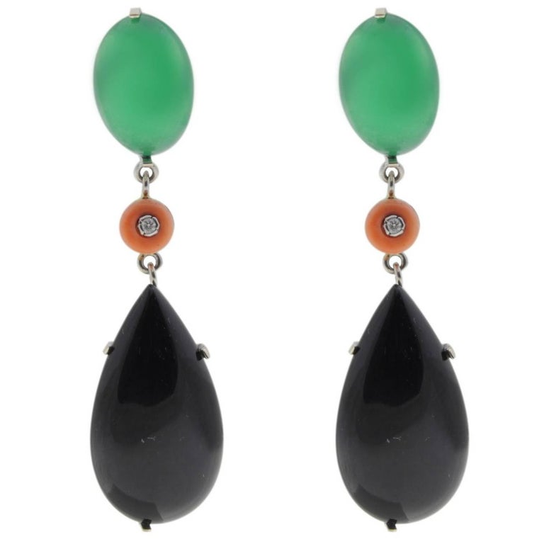 Green Agate, Onyx, Coral and Diamond Drop Earrings
