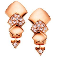 Akillis Python Earrings 18 Karat Rose Gold Half-Set White Diamonds