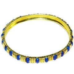 Classic Tiffany & Co. Gold and Blue Enamel Bangle Bracelet