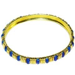 Classic Tiffany & Co. Gold and Blue Enamel Bangle Bracelet