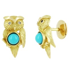 Yvonne Leon Contemporary 18 Karat Owl Earring with Turquoise and Diamonds