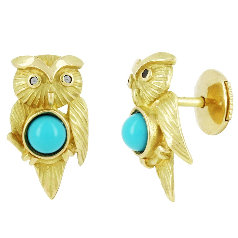 Yvonne Leon Contemporary 18 Karat Owl Earring With Turquoise And Diamonds For