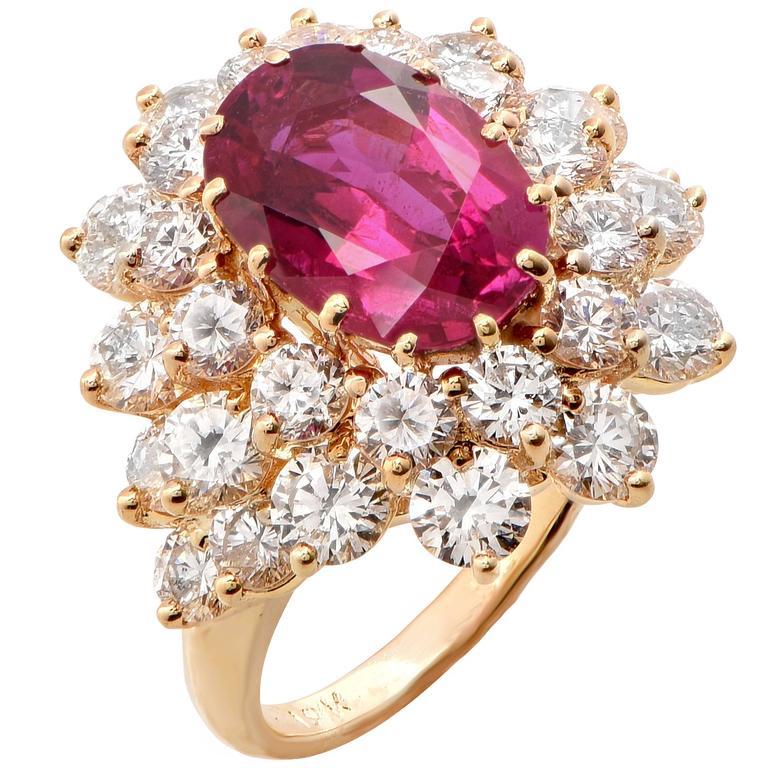 3.70 Carat AGL No Heat Burma Ruby and Diamond Ring