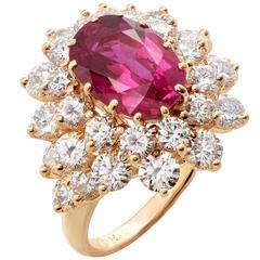 Burma Ruby 3.7 Carats AGL Graded No Heat and Diamond Ring