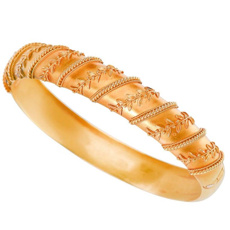 Antique Victorian Archeological Revival Gold Bangle Bracelet  1