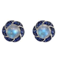 Moonstone Sapphire Cluster Flower Earrings