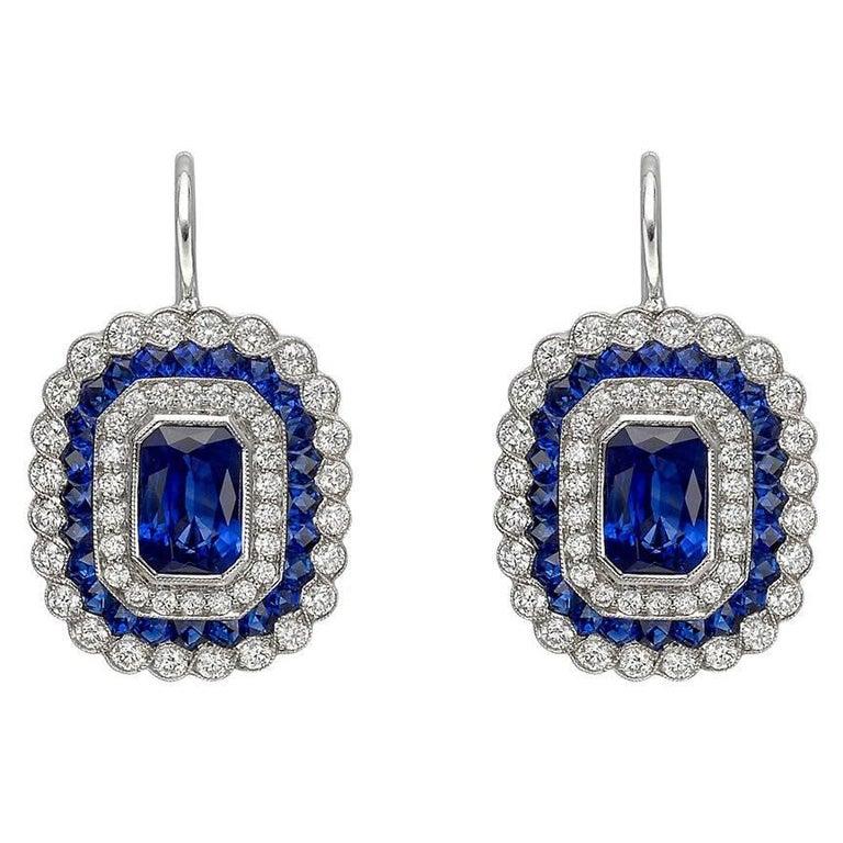 Emerald-Cut Sapphire Diamond Cluster Drop Earrings