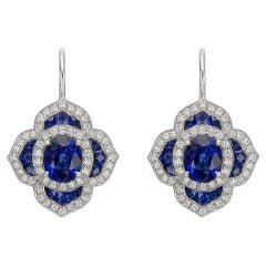 Sapphire Diamond Foliate Cluster Drop Earrings