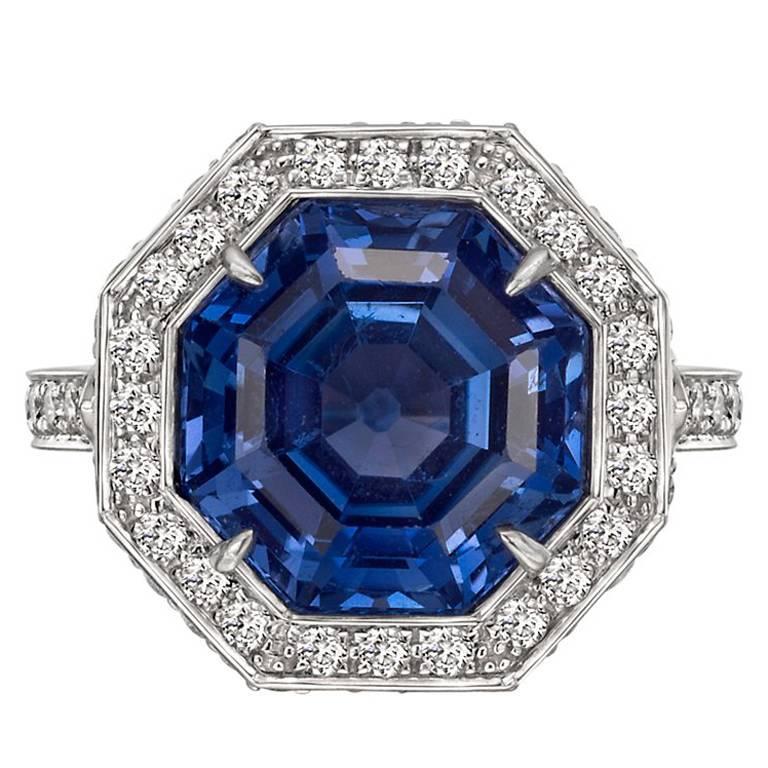 No Heat 7.22 Carat octagon Ceylon Sapphire Diamond Ring  by Paolo Costagli For Sale