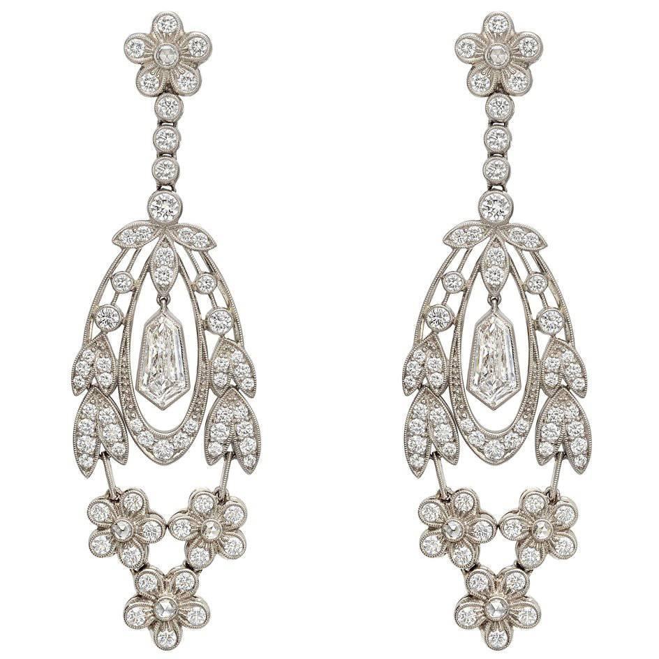 Diamond Flower Leaf Drop Earrings
