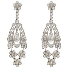 Diamond Flower Leaf Drop Earrings