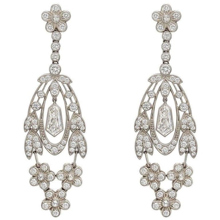 Diamond Flower Leaf Drop Earrings For