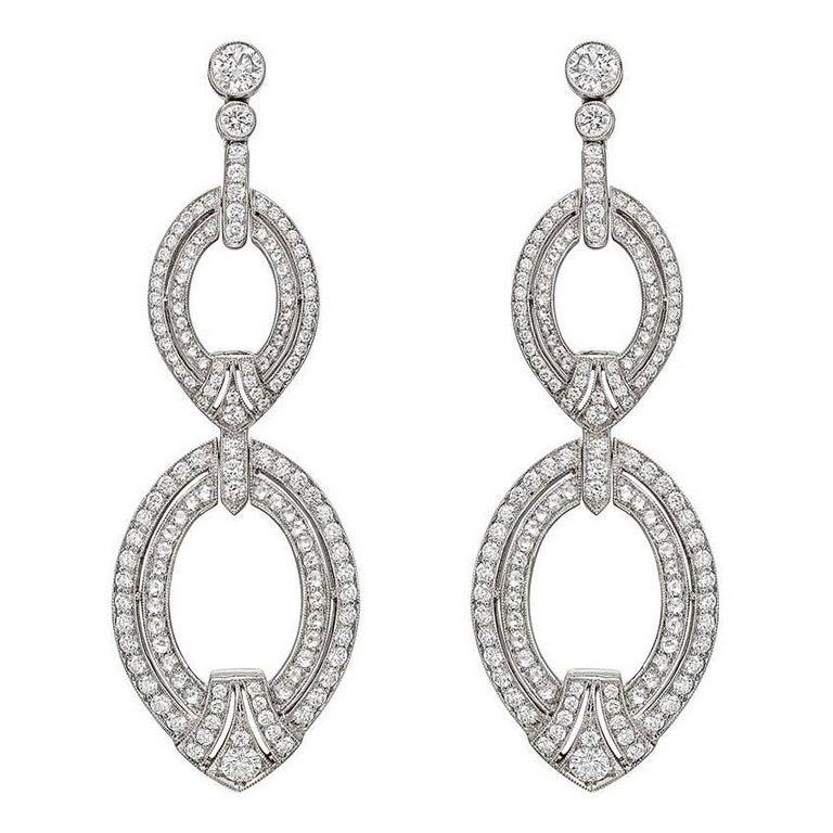 Diamond Oval Link Drop Earrings