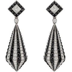 Diamond Black Onyx Striped Drop Earrings