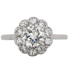 Art Deco Transitional Cut Diamond Halo Ring, circa 1930s