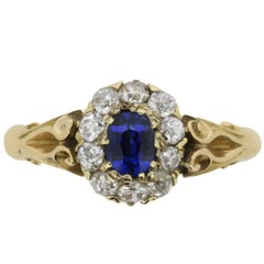 Victorian Sapphire and Diamond Cluster Ring, circa 1880s