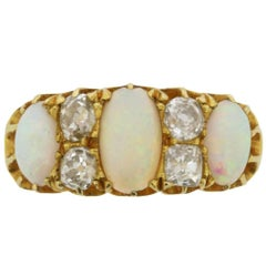 Early Victorian Opal and Diamond Ring, circa 1880s