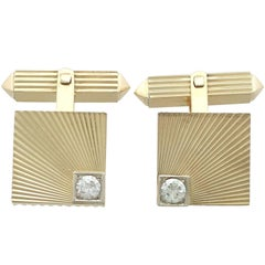1960s Diamond and Yellow Gold Cufflinks